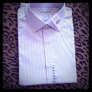 Banana Republic M 15-15.5 100%cotton shirt stripes